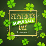 St.Patrick`s day super sale background. St.Patrick`s day super sale background, poster template.Green abstract background with clovers leaves ornaments.March 17 Royalty Free Stock Images