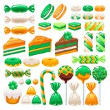St. Patrick`s day sweets set. Assorted candies and bakery. St. Patrick`s day sweets set - marshmallow, cream cakes, hard candy, dragee, cake pop, toffee, jelly royalty free illustration