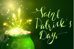 St. Patrick s Day symbol green pot. Full of gold coins and fireworks and handwritten letteringVector illustration Royalty Free Stock Photos