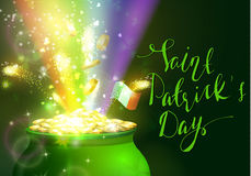 St. Patrick s Day symbol green pot. Full of gold coins and fireworks rainbow and ribbon with handwritten lettering Vector illustration Royalty Free Stock Photos