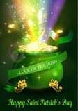 St. Patrick s Day symbol green pot. Full of gold coins and fireworks rainbow and ribbon Vector illustration Royalty Free Stock Photos