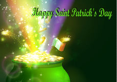 St. Patrick s Day symbol green pot. Full of gold coins and fireworks rainbow and ribbon Vector illustration Stock Photos