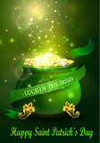 St. Patrick s Day symbol green pot. Full of gold coins and fireworks and ribbon Vector illustration Royalty Free Stock Image