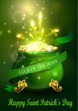 St. Patrick s Day symbol green pot. Full of gold coins and fireworks and ribbon Vector illustration Royalty Free Stock Photography