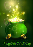 St. Patrick s Day symbol green pot. Full of gold coins and fireworks Vector illustration Royalty Free Stock Image