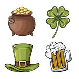 St. Patrick's Day symbol set. Holiday symbols on a white background Royalty Free Stock Images