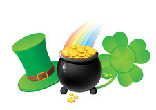 St. Patrick`s Day symbols. Shamrock. Pot with golden coins. Leprechaun`s hat Royalty Free Stock Image
