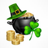 St. Patrick. S Day. Symbols. Hat. Clover. Pot with gold coins on white. National Irish design elements. Vector illustration Royalty Free Stock Photography