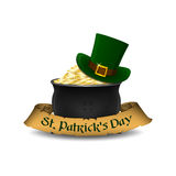 St. Patrick`s Day symbols - leprechaun hat and pot of gold. Vector illustration. Royalty Free Stock Photos