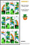 St. Patrick`s Day visual puzzle - match the halves of picture cards. St. Patrick`s Day themed visual puzzle with pot of gold, rainbow, green hat and shoes Stock Photos