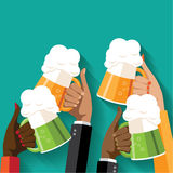 St. Patrick's Day toasting hands beer party poster. Stock Photography