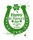 St. Patrick's Day Typography Poster With Horseshoe. Royalty Free Stock Images