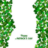 St Patrick`s Day Vector background with shamrock. Lucky spring s. Ymbol. Clover in green shades on white background. Border and frame - stock vector royalty free illustration