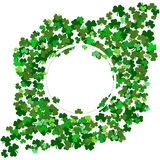 St Patrick`s Day Vector background with shamrock. Lucky spring. Symbol. Clover in green shades isolated on white background. Border and frame - stock vector royalty free illustration