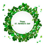 St Patrick`s Day Vector background with shamrock. Lucky spring. Symbol. Clover in green shades isolated on white background and White Round Substrate. Border stock illustration