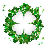 St Patrick`s Day Vector background with shamrock. Lucky spring. Symbol. Clover in green shades isolated on white background and White Substrate in shape of stock illustration