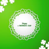 St Patrick`s Day Vector background with white paper cutout round. Frame with ornamental border of clover leaves on green backdrop. Laser cutting element with stock illustration