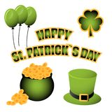 St. Patrick`s day vector decoration and photo booth props stock illustration