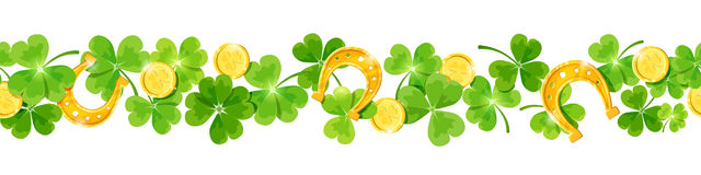 St. Patrick`s day vector horizontal seamless background with shamrock, coins and horseshoes. Royalty Free Stock Photos