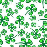 St. Patricks day vector seamless background with shamrock. Clover seamless pattern Stock Images