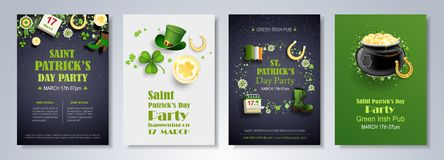 St. Patrick`s Day vector set of flyer and brochure design templa Stock Photography