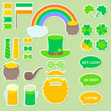 St. Patrick`s Day vector stickers. For photo booth printing or application vector illustration