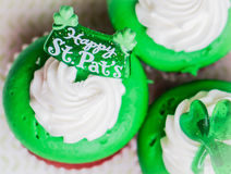 St.Patrick's Day velvet cupcakes Stock Photo