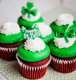 St.Patrick's Day velvet cupcakes Stock Image