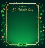 St. Patrick`s Day vertical frame contain golden border. Shamrock along with border ,dark green background and golden text, artwork leave some free space one vector illustration