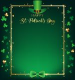 St. Patrick`s Day vertical frame contain green top hat over golden border. Shamrock along with border ,dark green background and golden text, free space on the stock illustration