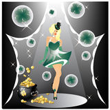 St.patricks day. Woman on stage with top hat and gold pot and clovers royalty free illustration