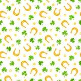 St Patrick ` s dnia bezszwowy wzór z shamrock, złocistymi monetami i podkowami, również zwrócić corel ilustracji wektora ilustracja wektor