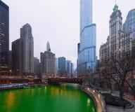 St Patrick ` s dnia Chicagowski miasto, Zielona rzeka, Illinois, usa Zdjęcie Stock