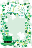 St. Patrick's frame. This illustration is design and drawing Happy St. Patrick's Day with leaf decoration in vertical template frame vector illustration