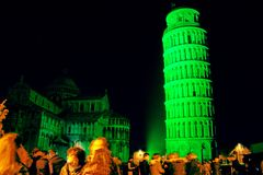 St patrick's green leaning tower Royalty Free Stock Photos