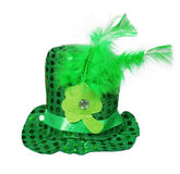 St. Patrick's Hat with feathers and clover leaf isolated Stock Photography