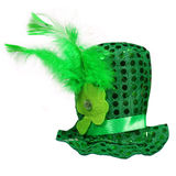 St. Patrick's Hat with feathers and clover leaf isolated Stock Images