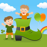 St. Patrick s Kids & Green Shoe royalty free stock photography