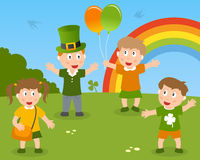 St. Patrick s Kids in the Park. A group of four cute kids celebrating St. Patricks or Saint Patrick s Day in a park with balloons and rainbow. Eps file available vector illustration