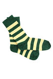 St. Patrick`s socks. Yellow green. isolated white background Royalty Free Stock Images