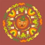 St Patrick ` s Tagesbunte Runde mit Katze Lizenzfreies Stockfoto