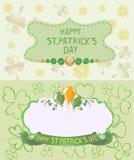 St- Patrick` s Tagesgrußkarten in den Pastellfarben Stockfotografie