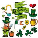 St- Patrick` s Tageshand gezeichneter Satz Auch im corel abgehobenen Betrag vektor abbildung