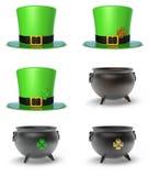 St- Patrick` s Tageshut und -großer Kessel Lizenzfreies Stockbild