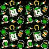 St- Patrick` s Tagesmuster Hut, Hufeisen, Goldschatz, Bier Nahtloses Muster lizenzfreie abbildung