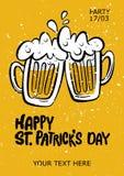 St- Patrick` s Tagesparteiplakat Illustration eines Bierkrugesprits Stockfoto