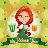 St. Patrick's Time. St. Patrick's day sexy red haired waitress smiling with two mugs of beer, one green and one gold Royalty Free Stock Photos