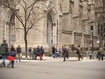 St. Patrick's Tourists. This is a shot of people outside of St. Patrick's Cathedral in Manhattan royalty free stock images