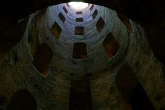 St. Patrick`s Well, a masterpiece of engineering in Orvieto, Royalty Free Stock Photo