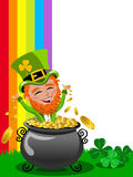 St Patrick Saint Patrick s exulting inside pot of gold frame isolated Stock Images